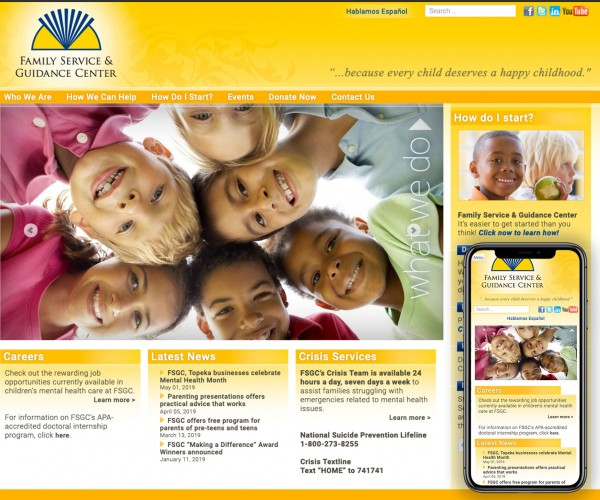 Umbrella website for Family Service and Guidance Center.