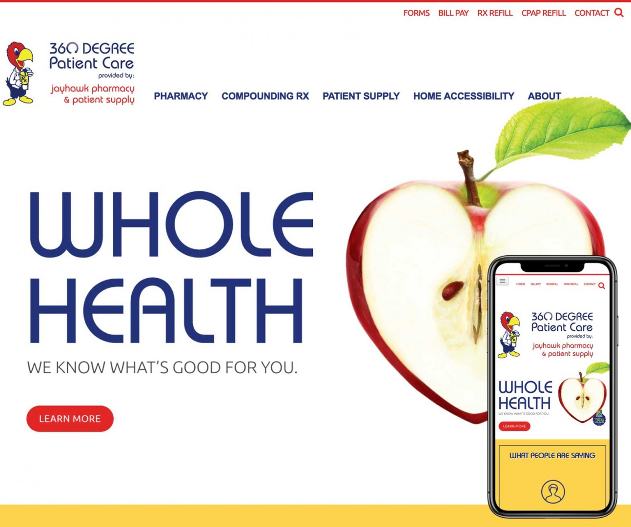 Umbrella website for Jayhawk Pharmancy.
